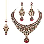 I Jewels Traditional Gold Plated Bridal Jewellery Set with Maang Tikka For Women (Maroon & Green)(M4022MG)