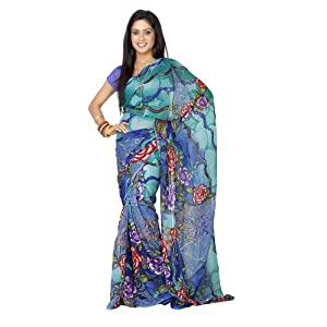 Blue Printed Georgette Saree For Women