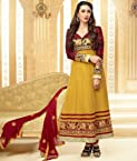Valuze-Karishma Kapoor Yellow And Maroon Latest Embroidered Anarkali Suits