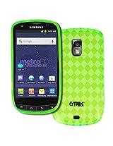 MetroPCS Samsung Galaxy S Lightray 4G R940 Poly Skin Case Cover, Neon Green Diamond Pattern