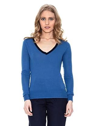 Springfield Jersey Cuello Pico Contraste (Azul)
