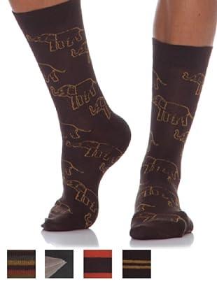 Springfield Calcetines Pack 5 Unid. Listas marrón oscuro
