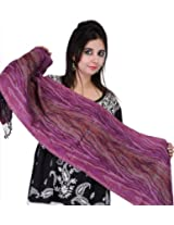 Exotic India Iris-Orchid Scarf with Woven Tiger Stripes All-Over - iris orchid