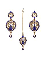 I Jewels Traditional Gold Plated Elegantly Handcrafted Earring Set with Maang Tikka using Austrian Diamonds for Women TE110Bl (Blue)