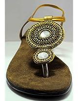 Ladies Party Wear Sandle (485_Golden) - 39