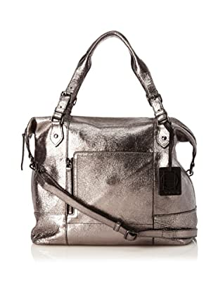 OH by Joy Gryson Women's Unzipped Cross-Body Satchel, Metallic Anthracite