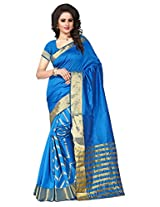 Shree Sanskruti Self Design Tassar Silk Turquoise Color Saree For Women With Blouse Piece