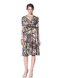Donna Morgan Women's Cropped Sleeve Mock Wrap Dress (Multi)