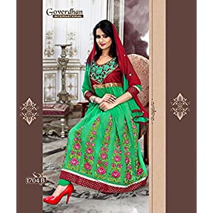 Green Heavy Anarkali Dress Material