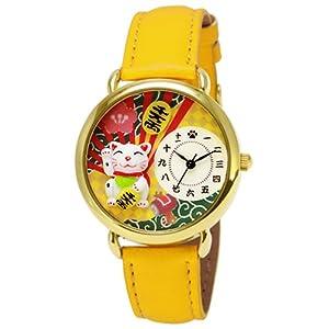 ジェイ-アクシス J-AXIS 腕時計 デコウォッチ 日本画 招き猫 BG965-YE ユニセックス