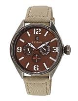 Titan Purple Multi-Function Analog Brown Dial Men's Watch - 9478QF02J