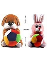 Rushi Enterprise Combo Rabbit and Dog Cute Teddy Soft Toy kids birthday (19 cm)