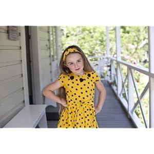 Straw Yellow Polka Girls Dress