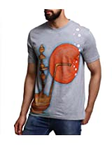 Men - T-Shirt - Boys - Round Neck - Casual Wear - Grey - - Hookah