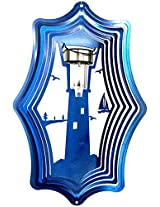 Stainless Steel Solar Light Lighthouse 16 Inch Wind Spinner, Blue
