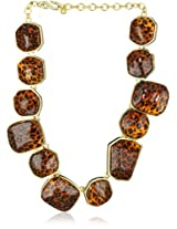 Kenneth Jay Lane Polished Gold and Leopard Print Necklace