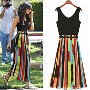 Women's Celeb Chiffon Irregular Stripe Mosaic Vest Long Dress
