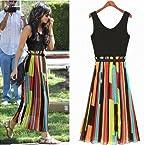 Women's Celeb Chiffon Irregular Stripe Mosaic Vest Long Dress