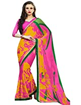 Pagli pink with multicolor floral printed georgette saree