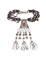 925-Silver Garnet Opera Necklace With Pendant For Women 11623