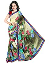 Shree Bahuchar Creation Women's Chiffon Saree(Sbk1, Cream)