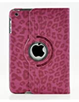LiViTech(TM) Leopard Design Series 360 Degree Rotating PU Leather Case Cover for Apple iPad Air iPad Mini with Retina iPad 2 3 4 (iPad Mini with Retina Hot Pink)