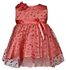 Petals Baby Girl's Synthetic party frock (BFP-1209-orange-18)