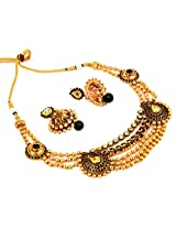 Megh craft women paisley shape multi layer string style necklace set - Indian One Gram Gold Plated jewellery