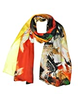 Wrapables Luxurious 100% Charmeuse Silk Long Scarf with Hand Rolled Edges, Wassily Kandinsky Inspired Composition
