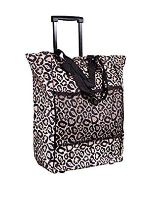 Home Essentials and Beyond Rolling Tote Bag, Leopard Multi