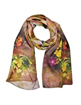 Wrapables Luxurious 100% Charmeuse Silk Floral Painting Long Scarf with Hand Rolled Edges, Peonies in Bloom