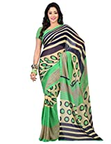 Admyrin Green Georgette Saree with Blouse Piece