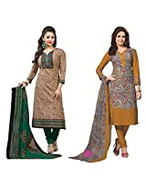 Rajnandini Combo of cotton Printed Unstitched salwar suit Dress Material (Black & Green _Free Size)