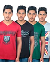 Uk Tribes Men's T-Shirt (Pack of 4) -Multi-Coloured, (X-Large)