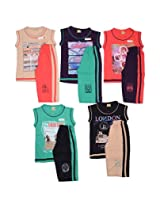 1lycargos Boys Sleeveless T-Shirts & 3/4th Shorts set 5pcs pack with five different colours and