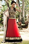 Designer Net Red Embroidered Lehenga Choli