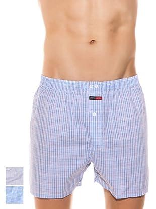 Pierre Cardin Pack x 2 Boxers 100% Algodón Cuadros (Azul)