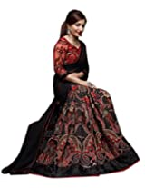 Shoppingover partywear saree in Black and Red Color