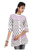 Rajrang Womens Cotton Tunic -Purple, White -Small