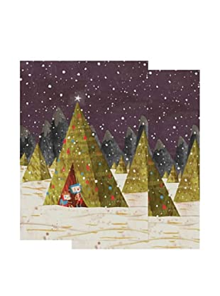 Nouvelles Images Teepee Tent in Night Snow 2-Pack Greeting Cards