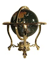 Unique Art 10-Inch Tall Table Top Malachite Ocean Gemstone World Globe with Gold Tripod Stand