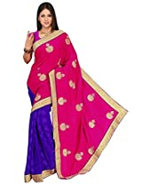 Chinco Embroidered Saree With Blouse Piece (1103-B_Pink & Blue)