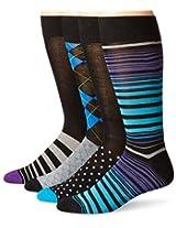 Papi Men's 4 Pack Stripe and Argyle Crew Sock, Light Blue/Purple, 10-13/Shoe Size 6-12