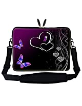 "Meffort Inc 17 Inch Butterfly Heart Design Laptop Sleeve Bag Carrying Case With Hidden Handle & Adjustable Shoulder Strap For 16"" 17"" 17.3"" Apple Macbook, Acer, Asus, Dell, Hp, Sony, Toshiba, And More"
