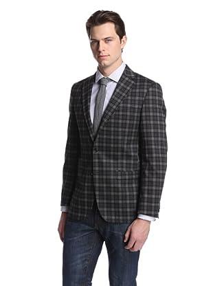 Simon Spurr Men's Plaid 2-Button Sportcoat (Black/Grey)