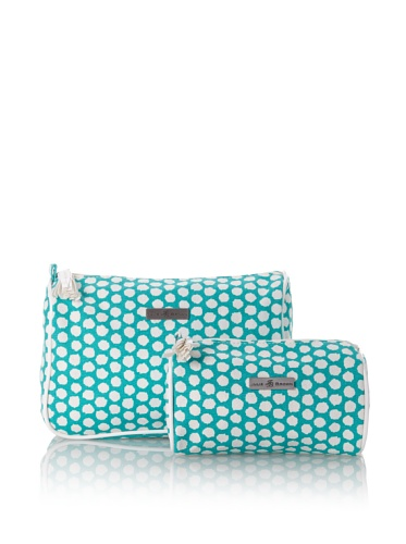 Julie Brown Set of 2 Cosmetic Bags (Green Polka Dot)