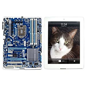 Blue Computer Motherboard - Processor CPU Memory - Snap On Hard Protective Case for Apple iPad 2 3 4 - White