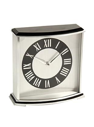 Square Desk Clock, Black/Silver