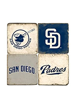 Studio Vertu Set of 4 Padres Logoed Tumbled Marble Coasters with Stand