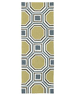 Kaleen Escape Indoor/Outdoor Rug, Gold, 2' x 6' Runner